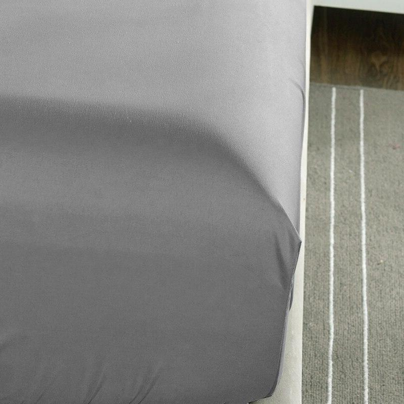 Fitted <font><b>Solid</b></font> Linens <font><b>Bed</b></font> With Elastic Double Size 180X200CM