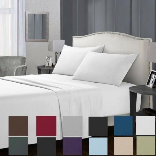 1800 count deep pocket fitted sheet bed