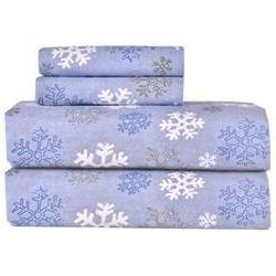 Heavy Weight Snowflake Printed Flannel Sheet Set, King, Blue