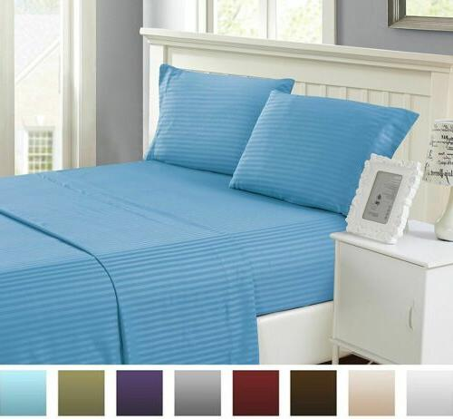 BAMBOO 1800 POCKET STRIPED HYPOALLERGENIC & SOFT ALL