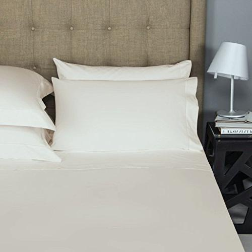Mayfair Linen 100% Cotton Ivory Sheets Thread Count Sateen and Silky Feel, Pocket