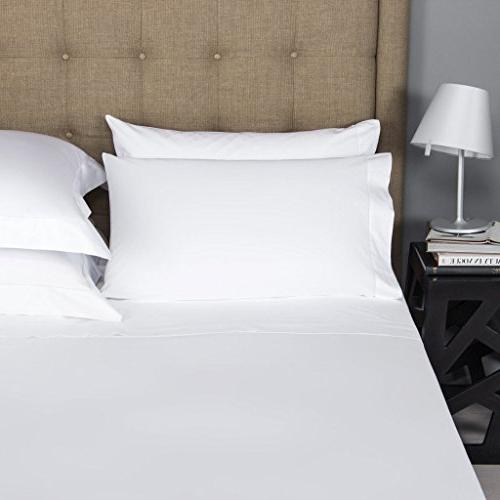 Mayfair Linen 100% Egyptian Cotton White Sheets Count Long Staple Cotton, Sateen Weave Soft and Silky Mattress Pocket