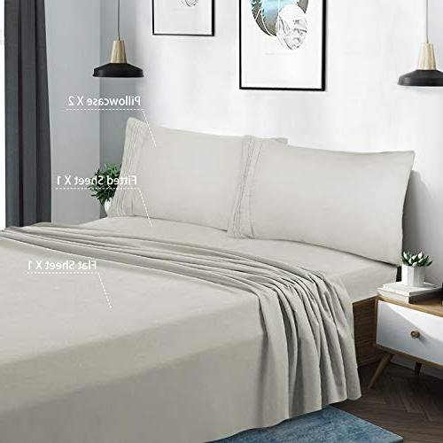 HOMEIDEAS Luxury 1800 Series Bed Sheets Set GSM Sheets Resistant