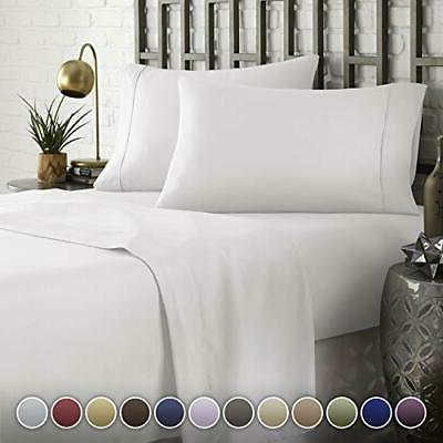 Hotel Luxury Comfort Bed Sheets Set, 1800 Series Full White