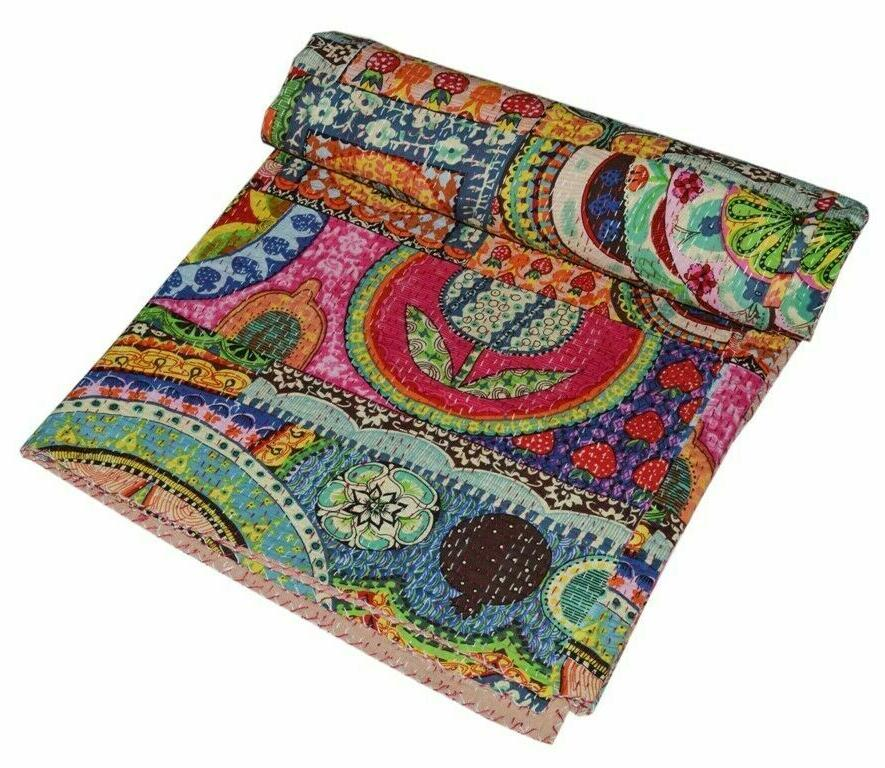 Indian Reversible Quilt Size Bedspread