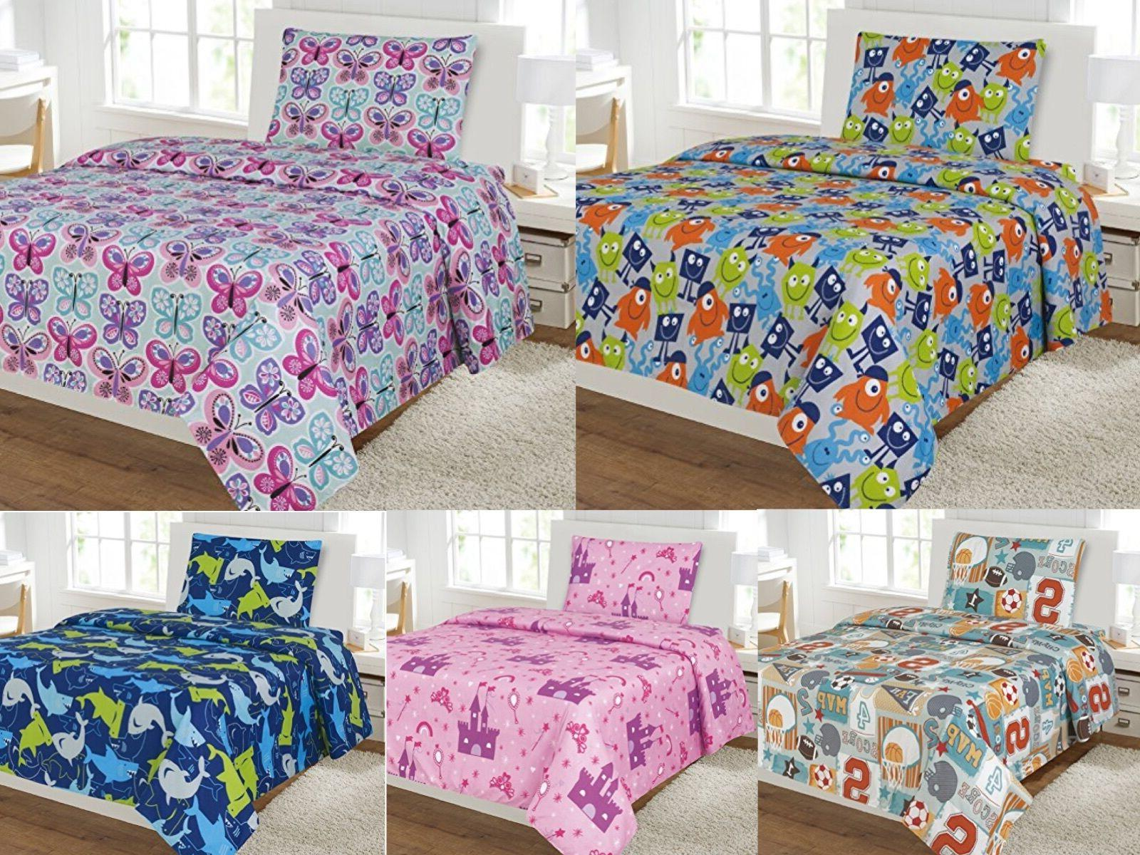 Kids 3-Piece Sheet Set Twin Size Bed Cover Flat Fitted Boys