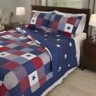 King Size Americana Bedding Stars 2-pc Quilt Set Red White a