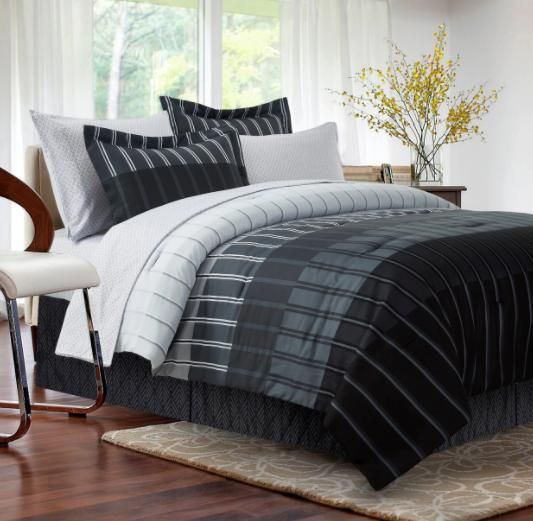 King Comforter Set Black Bedspread Sheets Reversible in Ba