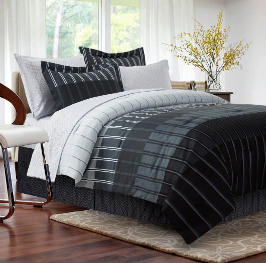 king comforter set bedding black grey gray