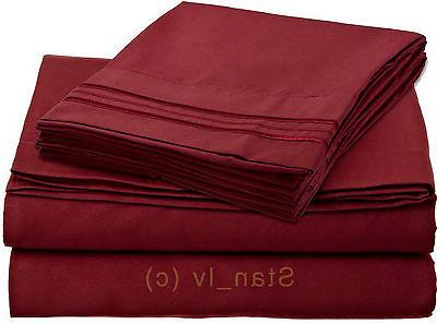 1800 Thread 4pc Bed Sheet Egyptian Quality Deep Pocket - All 12