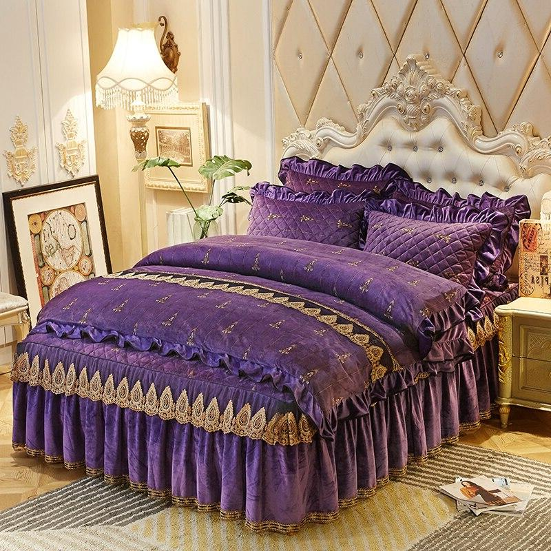 Luxury <font><b>royal</b></font> queen king Crystal <font><b>velvet</b></font> set pillowcase Skirt/linen Duvet Cover set