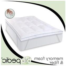 Memory Plus Deluxe Memory Foam and Fiber Bed Topper with Anc