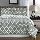 Full / Queen Size Meridian Gray and White 3 pc Duvet Cover C