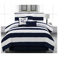 Legacy Decor 7pc. Microfiber Nautical Themed Navy Blue & Whi