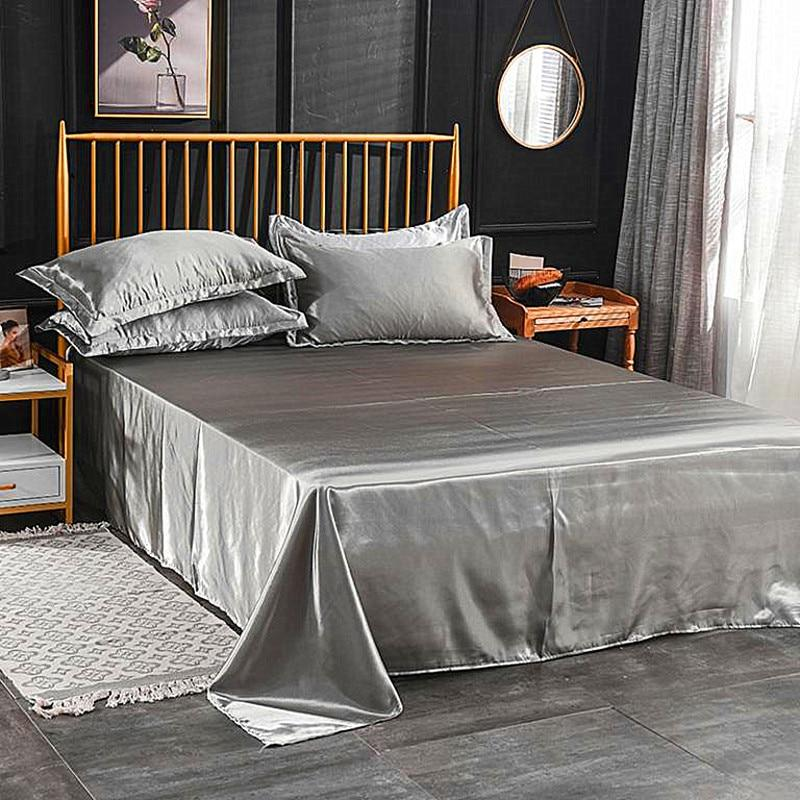 Silk Flat <font><b>Sheet</b></font> Silky Queen <font><b>Bed</b></font> Men