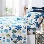 Printed Bed Sheet Set, King Size - Blue Daisies - By Clara C