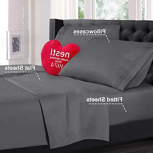 Nestl Bedding 4 Sheet Deep Pocket Bed Set Hotel Double Brushed Microfiber - Deep Pocket Sheet,