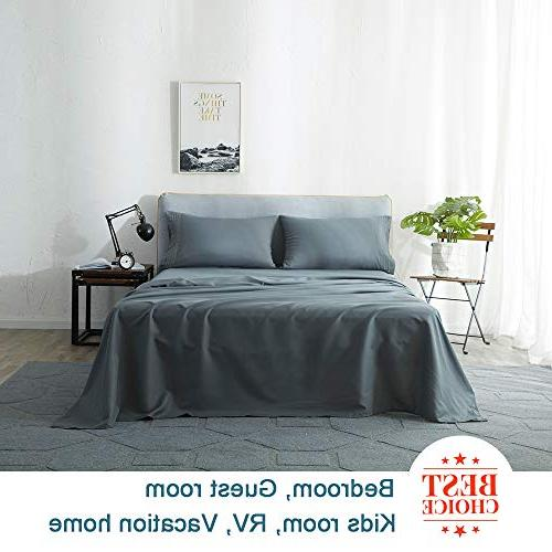 Shilucheng Sheets Set 1800 Thread Count Percale Soft and 16 Inch Wrinkle - Piece