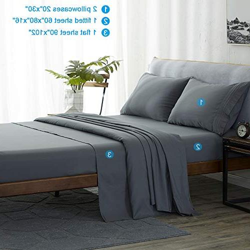 Shilucheng Size Sheets Set Microfiber Thread Soft Inch Wrinkle Fade Hypoallergenic - Piece
