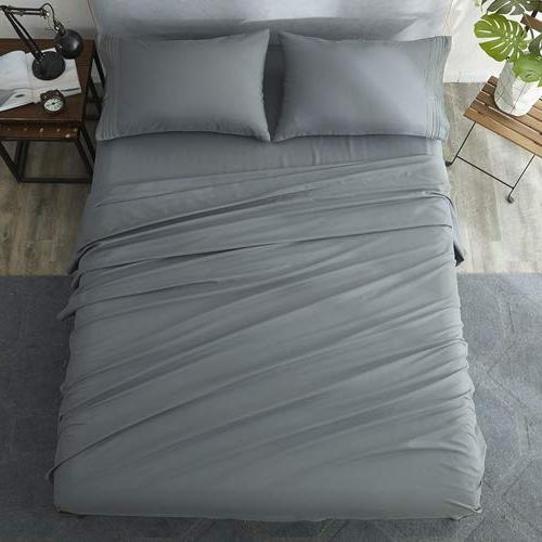 Shilucheng Queen Sheets Set Thread Count Percale Soft and Comforterble| Inch Deep Pockets Wrinkle Fade and - 4