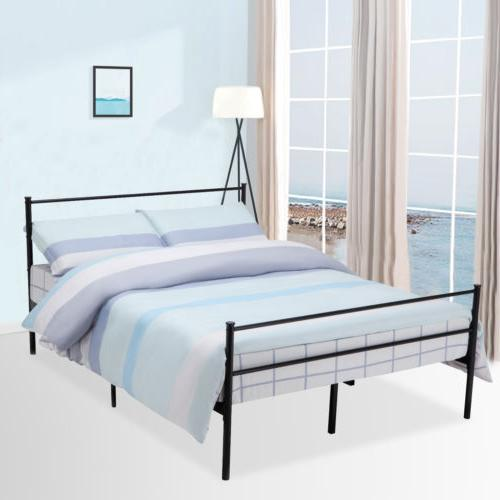 f586c69a1679 Queen Size Metal Bed Frame Platform Headboards w/ 6 Legs Bed