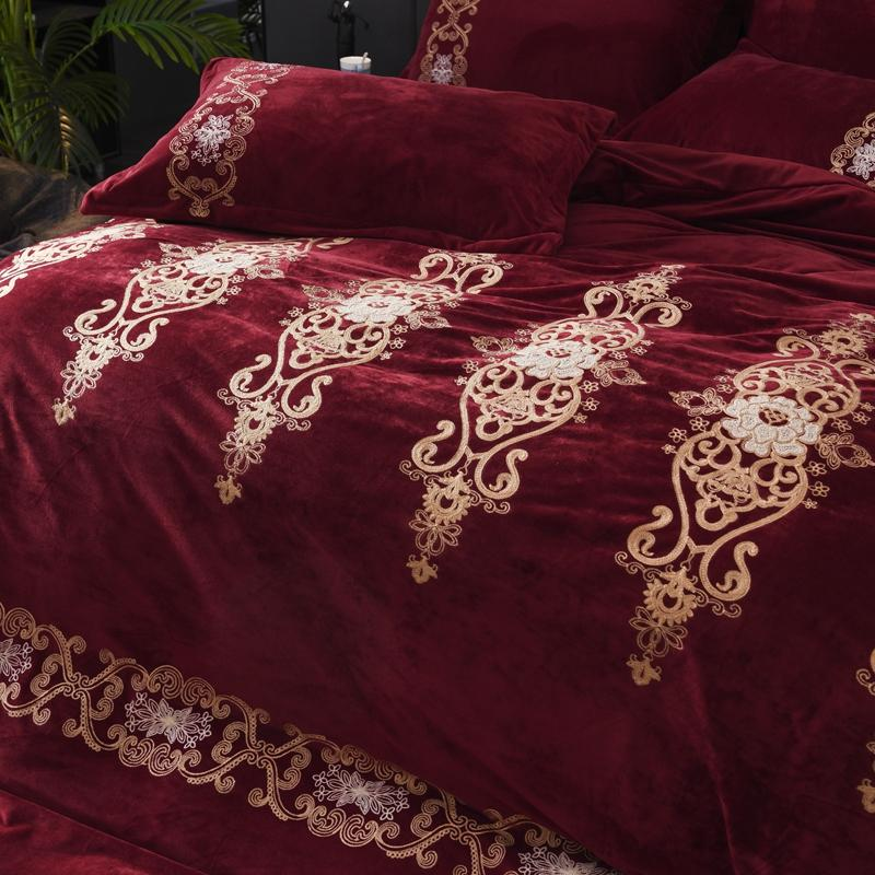 Red Wine Style <font><b>Royal</b></font> Embroidery Thick Set Duvet <font><b>Bed</b></font> Linen/<font><b>sheet</b></font> Pillowcases
