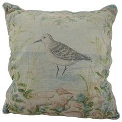 Sandpiper Shore Bird 16 Inch Linen Throw Pillow