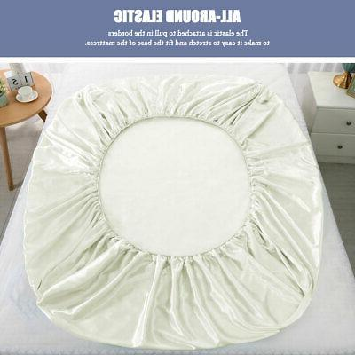 Satin Fitted Bed Sheet Deep Ultra Smooth Comfy