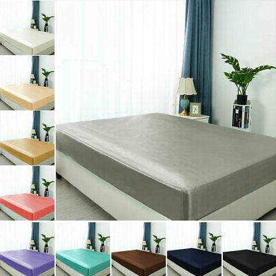 satin silk fitted bed sheet with deep