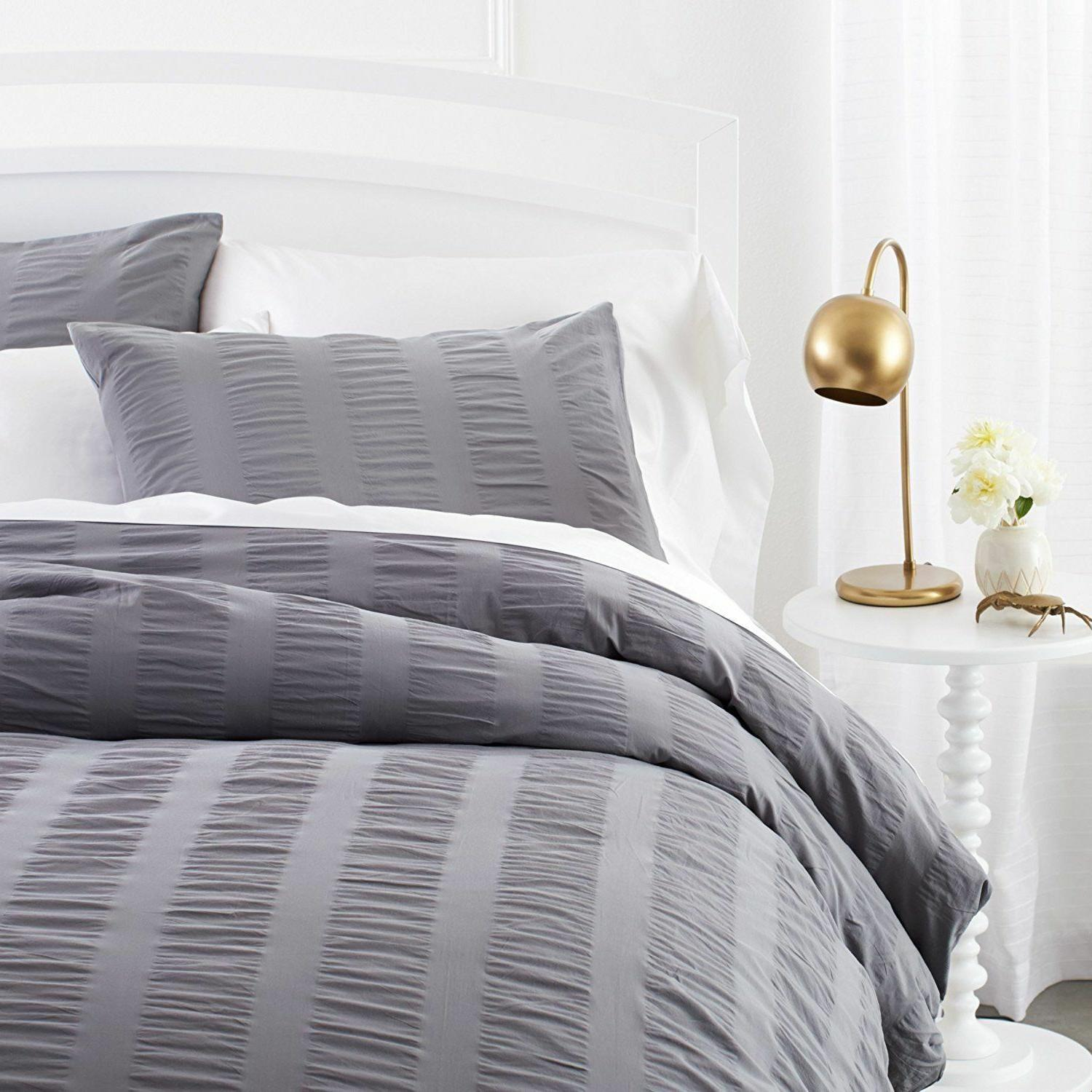 seersucker duvet cover set full queen grey