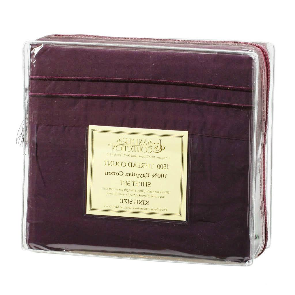 king size dark purple 1500 thread count