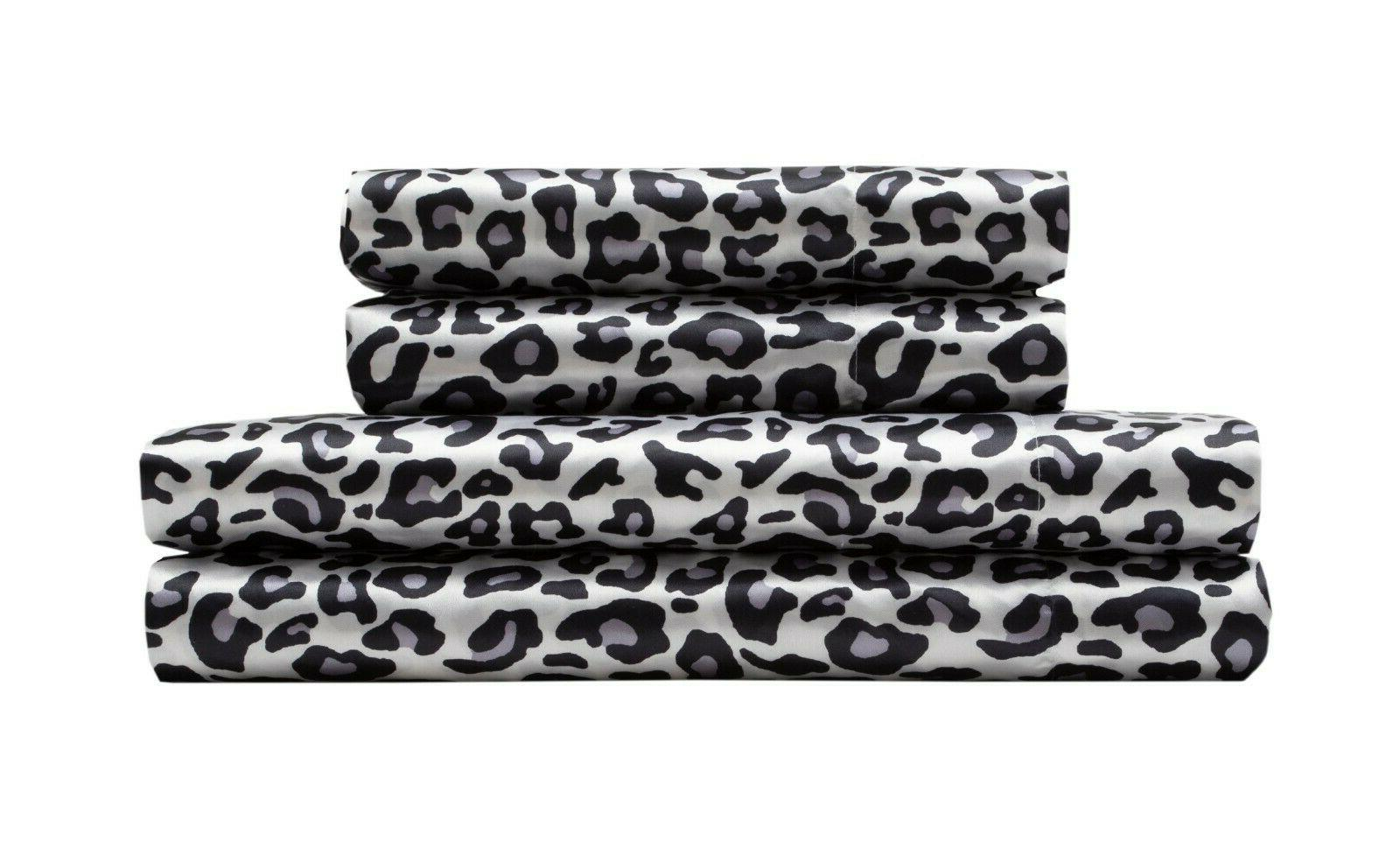Snow Leopard & Satin Set + Sheets - F/Q K