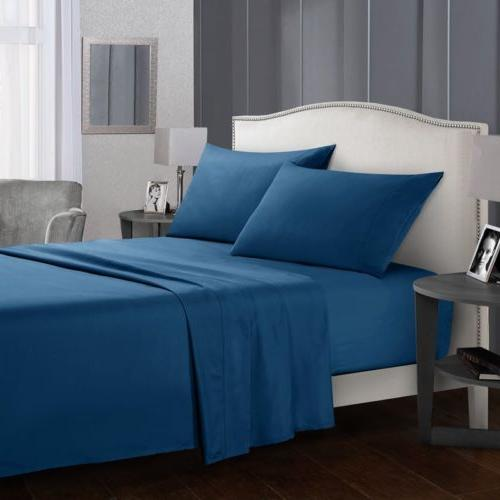 Soft Bed Sheets Set 4 Piece Deep Bedding Sets Queen Full Twin Size