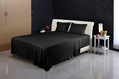 Utopia Brushed Microfiber Stain Bed Sheet Black