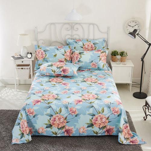 Soft Flat Bed Sheet Floral Sheets Size