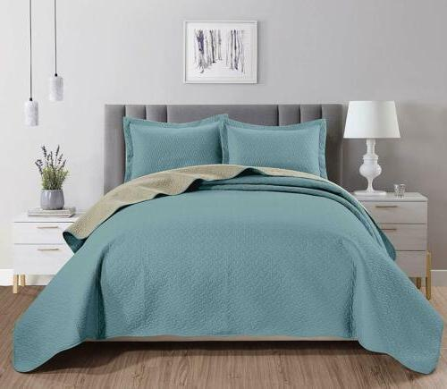 3-piece Spa Blue Khaki Pinsonic Quilted Reversible Bedspread