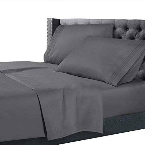 queen sheets set charcoal grey