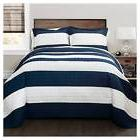 Stripe Quilt 3 Piece Set  Navy/White - Lush Décor