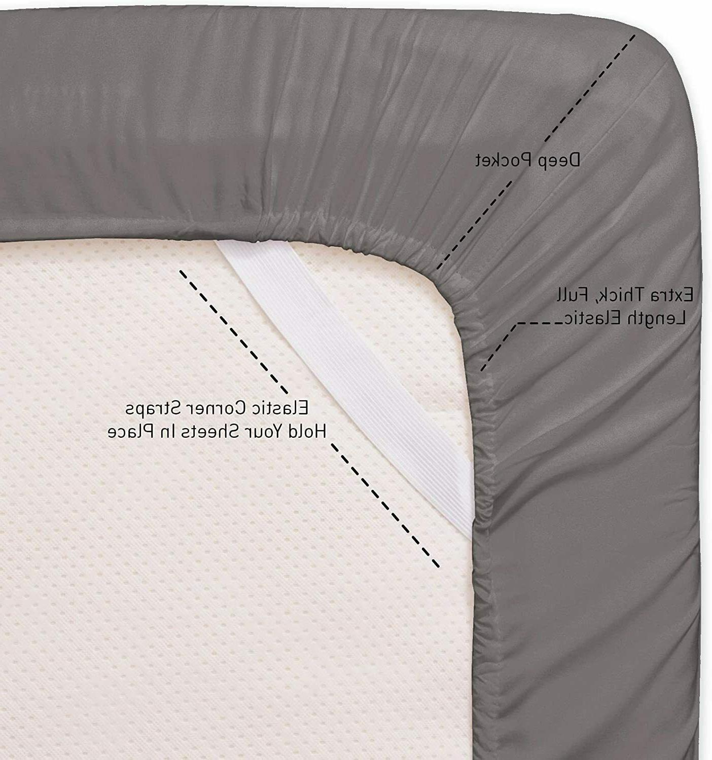 100 BED SET QUEEN SIZES 1500 BED SHEETS GREY