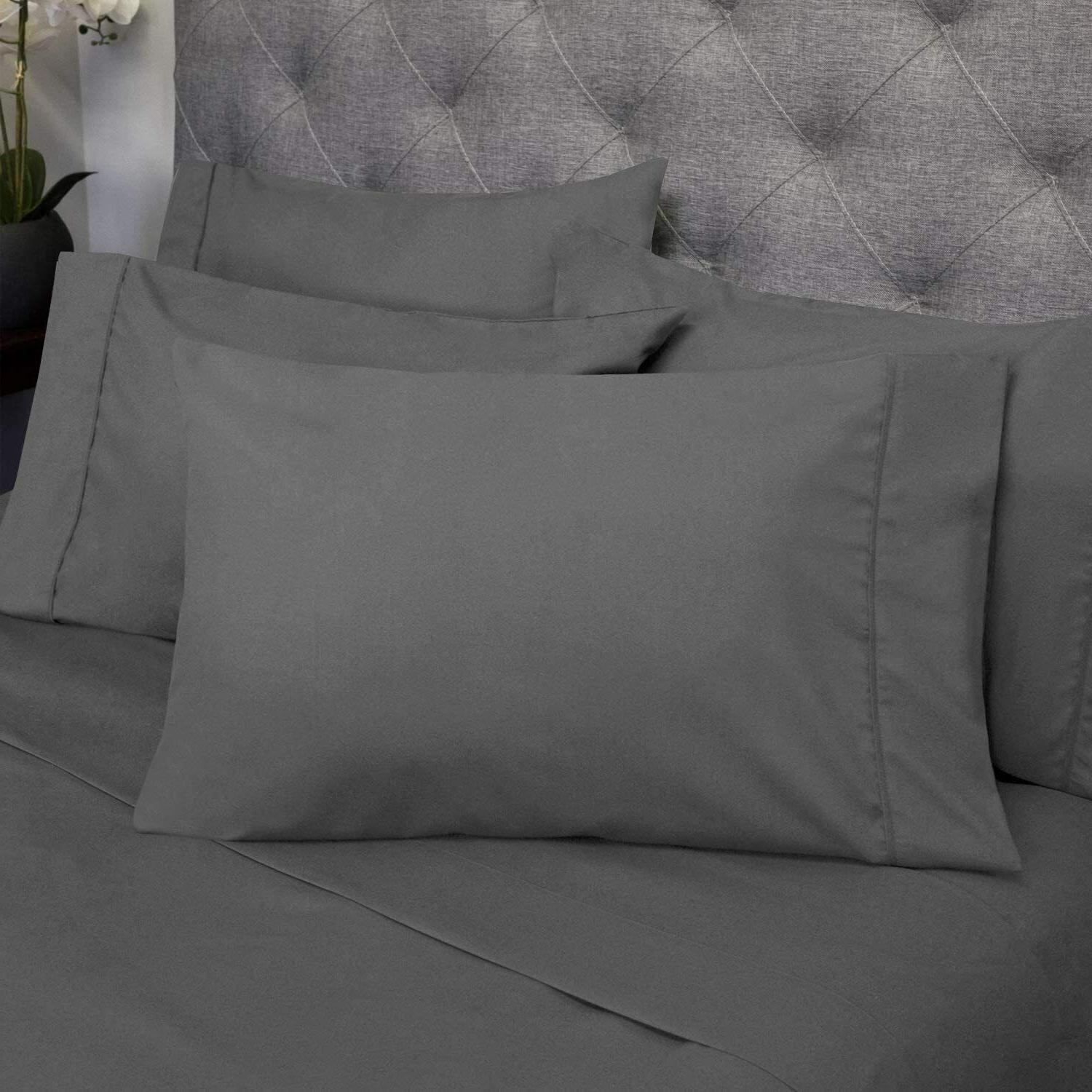 100 EGYPTIAN COTTON BED SHEET SIZES 1500 THREAD SHEETS GREY