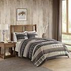 Tan Brown Plaid Quilt Full Queen Set Log Cabin Bedding Grey