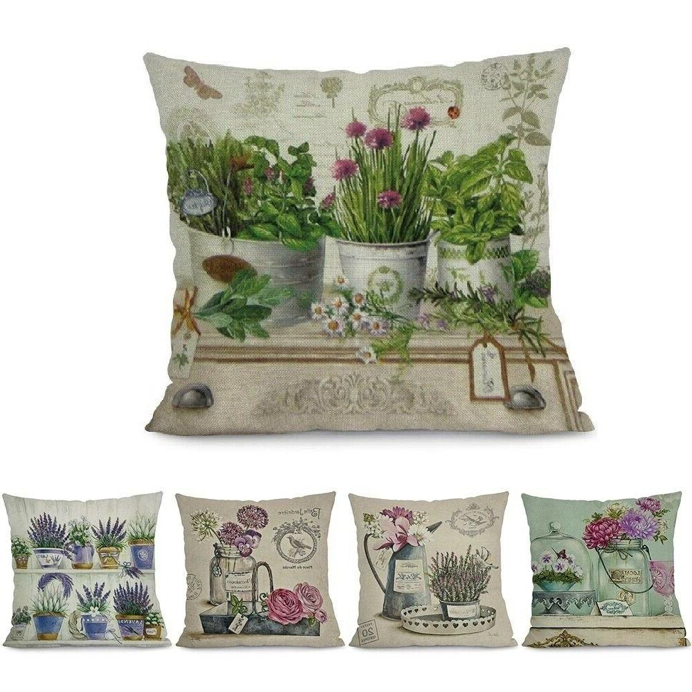 Throw Pillow Case Cotton Linen Printed Flower Cushion Cover