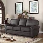 Traditional Brown Real Leather Upholstered Scroll Arm Sofa
