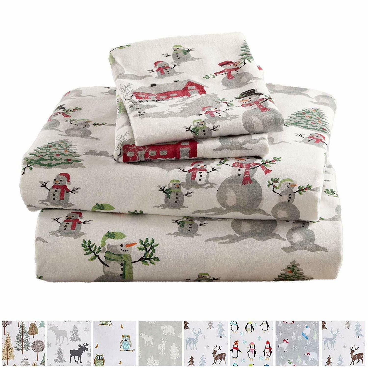 Warm Winter Christmas Bed Sheets 100% Turkish Cotton
