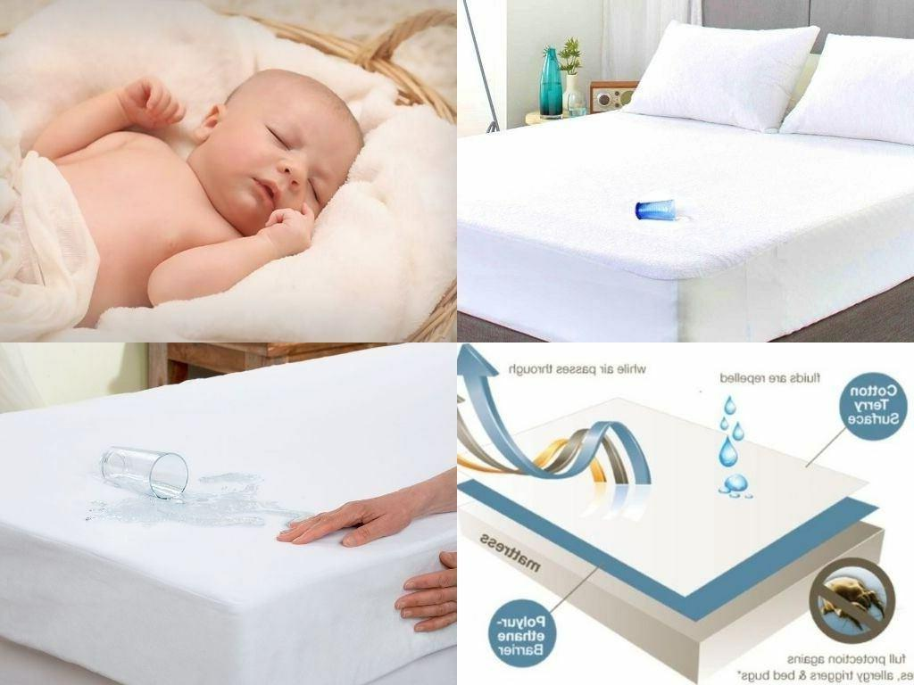 WATERPROOF TERRY TOWELING MATTRESS PROTECTOR FITTED SHEETS C