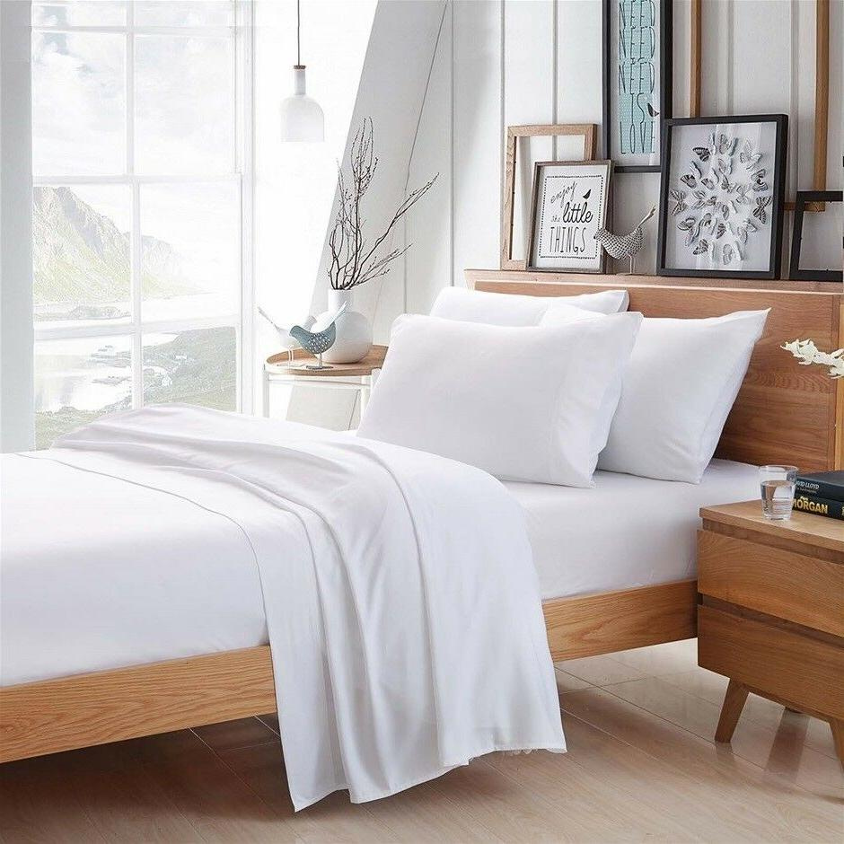 white 100 percent egyptian cotton bamboo bed