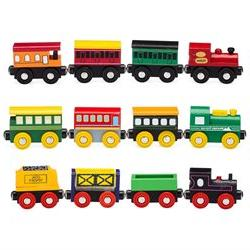 Playbees 12 Piece Wooden Toy Train Cars & Engine Set Compati
