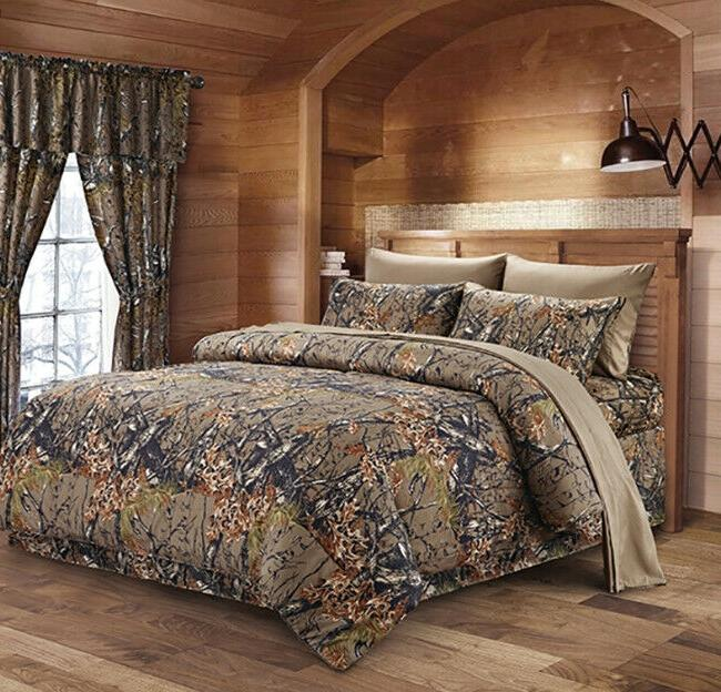 WOODLAND 7PC SET WOODS CAMO COMFORTER SHEET SET CAMOUFLAGE B
