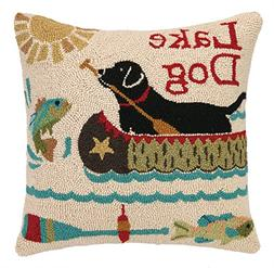 Peking Handicraft Lake Dog Hook Pillow, 18 by 18-Inch, Multi
