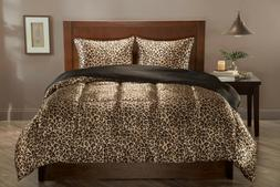 Leopard & Black Satin Reversible Comforter Set + Sheets Elit